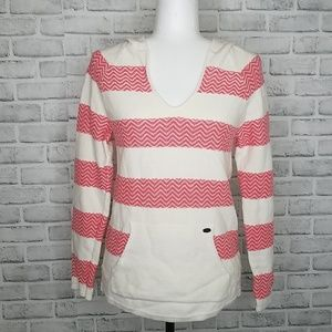 Roxy Pink + Off White Pullover Hoodie Size Medium